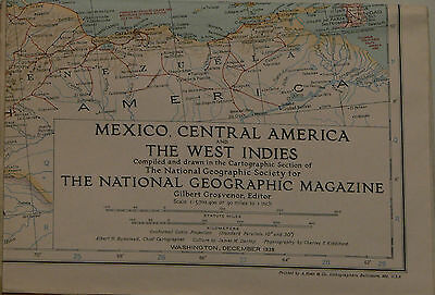 Vintage 1939 National Geographic Map of Mexico, Central America & West Indies