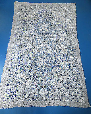 Vintage Handmade Lace Tablecloth Figural w Dragons & Acorns Large Size