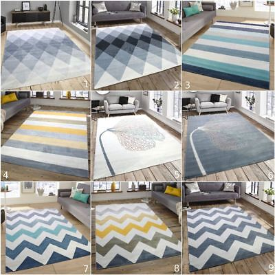 Soft Touch Modern Stripes Zig Zag Flowers Cream Grey Teal Blue Extra Large Rugs