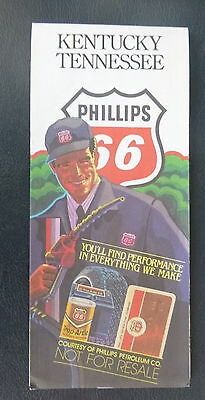 1983 Kentucky Tennessee road  map Phillips 66  oil gas Coca Cola ad