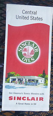 1957 Central United States  road  map Sinclair  oil gas route 66
