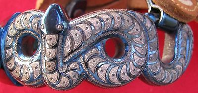 Mint 12 Rattlesnake Figural Spurs Goldwashed Silver Inlaid Engraved Fancy Straps