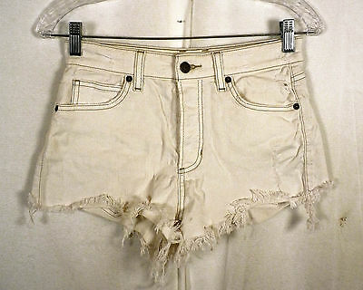 vtg 90s ladies Guess Georges Marciano White Stretch Denim Shorts USA distress 26