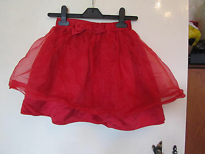 Red M&S Autograph Special Occasion Skirt with Bow - 6 - 7 years - elastic waist
