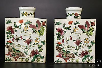 Fine Beautiful Chinese Pair Famille Rose Porcelain Butterfly Tea Leaves Pot