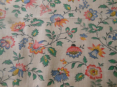Vintage Retro French Indienne Floral Cotton Fabric ~Blue Yellow Pink Green