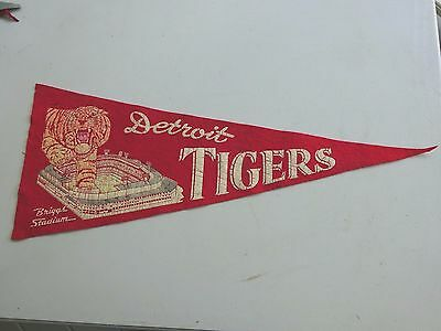1950's Detroit Tigers Briggs Stadium Red 28 Inch Pennant