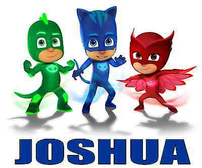 """PJ Masks Personalized Iron On Transfer 5""""x5.75"""" For LIGHT Fabric"""