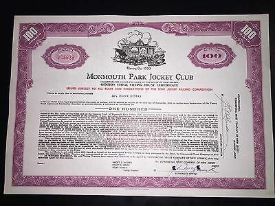 Monmouth Park Jockey Club authentic stock certificate issued to Board member