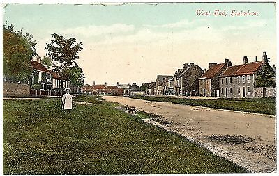 Colour Postcard Small Girl On Green-Shops-West End-Staindrop Village-Durham 1913