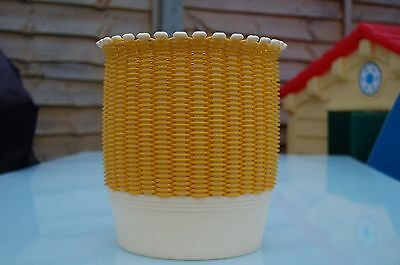 Vintage Retro Yellow Plastic Weave Smit And Co Wate Paper Bin