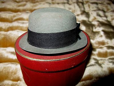 Vintage Stetson Miniature Salesman's Sample Gray Fedora Hat In Original Red Box