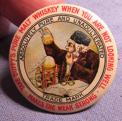 Vintage Duffys Malt Whiskey Celluloid Advertising Pocket Mirror