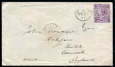 GIBRALTAR (13982): 1871 QV 6d to St. Austell/cancel/cover