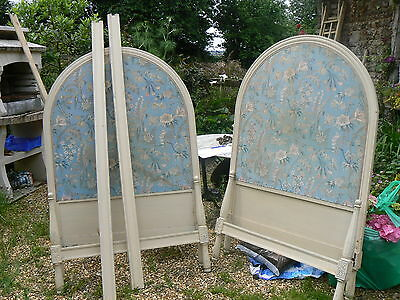 Rare Pair Antique French Original Painted Single Arch Top Beds For Restoration