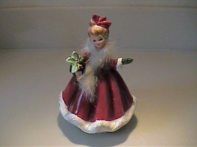 Vintage Josef Originals Christmas Music Box Girl With Feather Boa