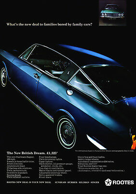 Sunbeam Rapier Fastback Coupe Retro A3 Poster Print From 60's Advert
