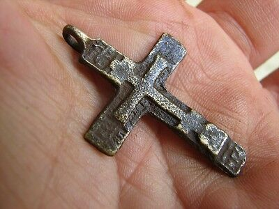Nice Late Medieval Period  Big (!)  Bronze Cross Pendant #4925