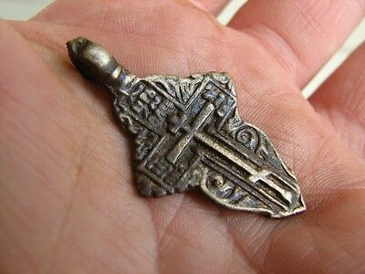 Nice Late Medieval Period  Big (!)  Bronze Cross Pendant #4936