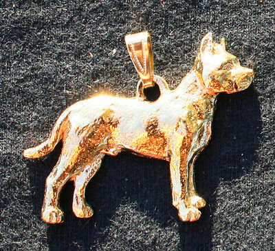 PIT BULL TERRIER Cropped Dog 24K Gold Plated Pewter Pendant Jewelry USA Made
