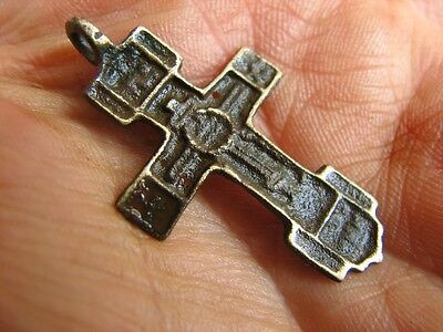 Nice Late Medieval Period  Big (!)  Bronze Cross Pendant #4948