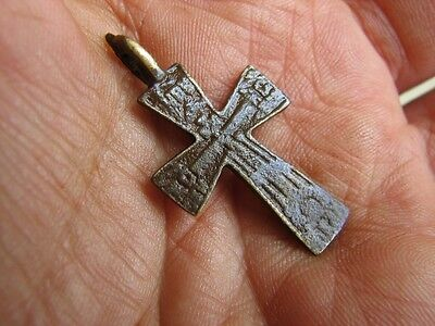 Nice Late Medieval Period  Big (!)  Bronze Cross Pendant #4951