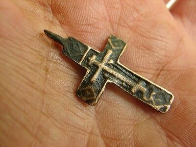 Nice Late Medieval Period  Big (!)  Bronze Cross Pendant #4958
