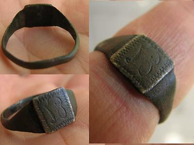 NICE BRONZE MEDIEVAL RING with ORNAMENT  # 4978