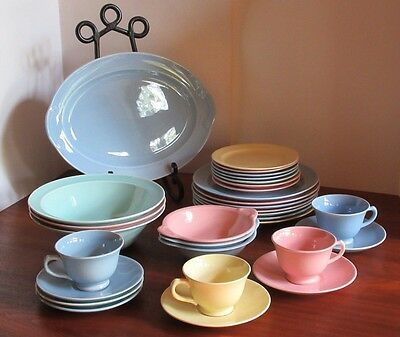 Luray Pastels Vintage Dinnerware Set Plates Saucers Cups Bowls PLATTER