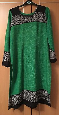 Ladies Green Linen Kameez Tunic Kurti Kaftan Top Shirt M 12-14