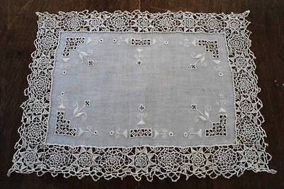 2 Antique Linen Needle Lace Tray Doily Placemats Point Venise Italian Embroidery