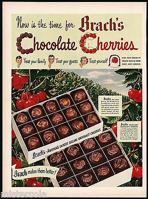 Vintage magazine ad BRACHS CHOCOLATE CHERRIES 1949 picturing cherry trees nrmt+