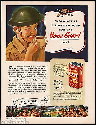Vintage magazine ad NESTLES COCOA from 1943 boy soldier pictured Buy War Bonds