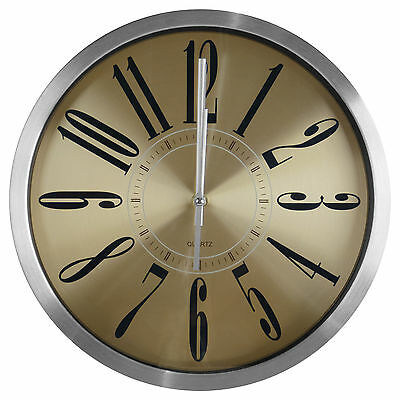 """TKF 12"""" Aluminum Wall Clock with Matte Gold Finish Dial"""