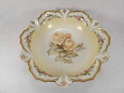 """Authentic RS Prussia 10"""" Scalloped Bowl Roses & Gold Trim Pre 1917 Red Mark VGC!"""