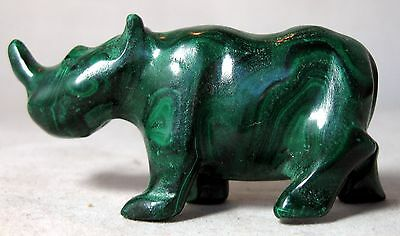 "3"" Natural Green Malachite Crystal Carving Rhinoceros Figure figurine"
