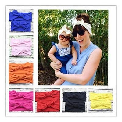 Newborn Baby Girl Toddler&Mom Turban Knot Headband Rabbit Bow Headwear Hair Band