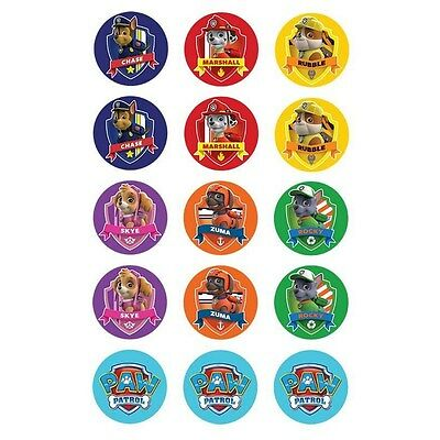 Paw Patrol Birthday Party Cupcake Edible Icing Decorations Toppers (Pack Of 15)
