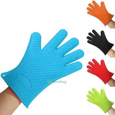 Silicone Heat Resistant Oven Mitts Gloves Potholder For Kitchen Barbeque Baking