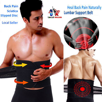 Lumbar Lower Back Support Belt Brace Posture Waist Cincher Pain Relief Black SF