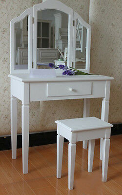 Hyfive - Dressing Room Table With Mirror & Stool - White - 137X80X38.5 Cm