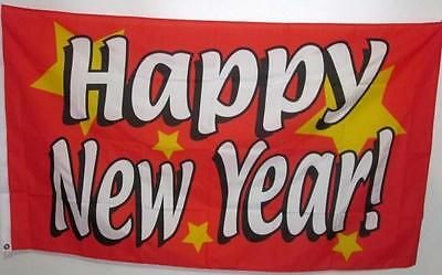 HAPPY NEW YEAR FLAG 5 x 3  PARTY CELEBRATION BANNER