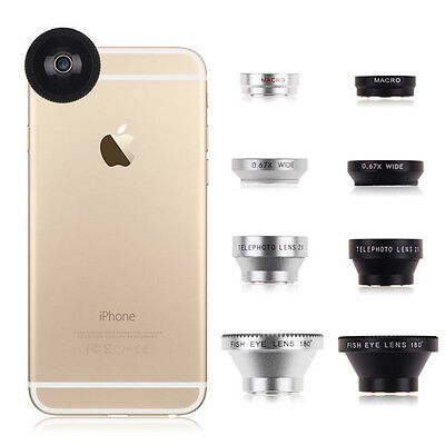 Magnetic 4in1 Fish Eye Wide Angle Micro Telephoto Lens for iPhone 7 6S