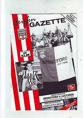 Brentford v Lucchese 24/11/92 Anglo Italian Cup
