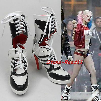 DC Suicide Squad Costume Fancy Dress Shoes Harley Quinn Highheels Boots Cosplay