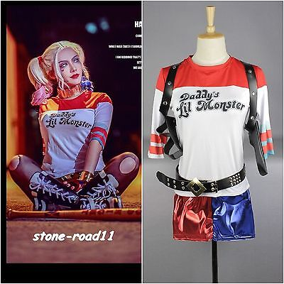 DC Suicide Squad T Shirt Shorts Harley Quinn Costume Lot Halloween Holster Glove