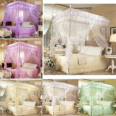 Gift ! Princess Lace Four Corner Post Bed Canopy Mosquito Netting Or Frame(Post)