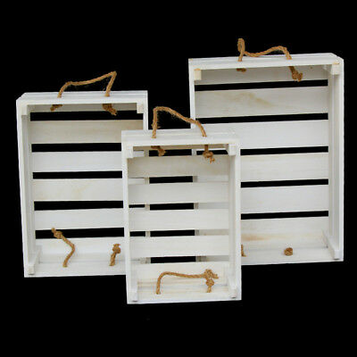 3PC Wooden White Wedding Home Vintage Rustic Storage  Decorative Crates Boxes
