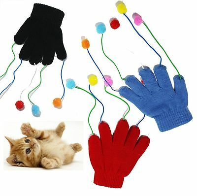 Play & Chase Glove Mitten with Pom Pom Teaser Trick Fun Cat Kitten Activity Toy