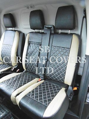 To Fit A Ford Transit Custom Van, Seat Covers, 2014, Beige / Bk Bentley Diamond